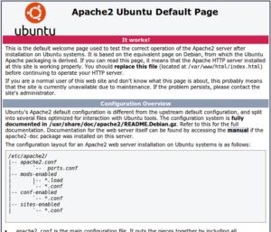 Page Apache par défaut