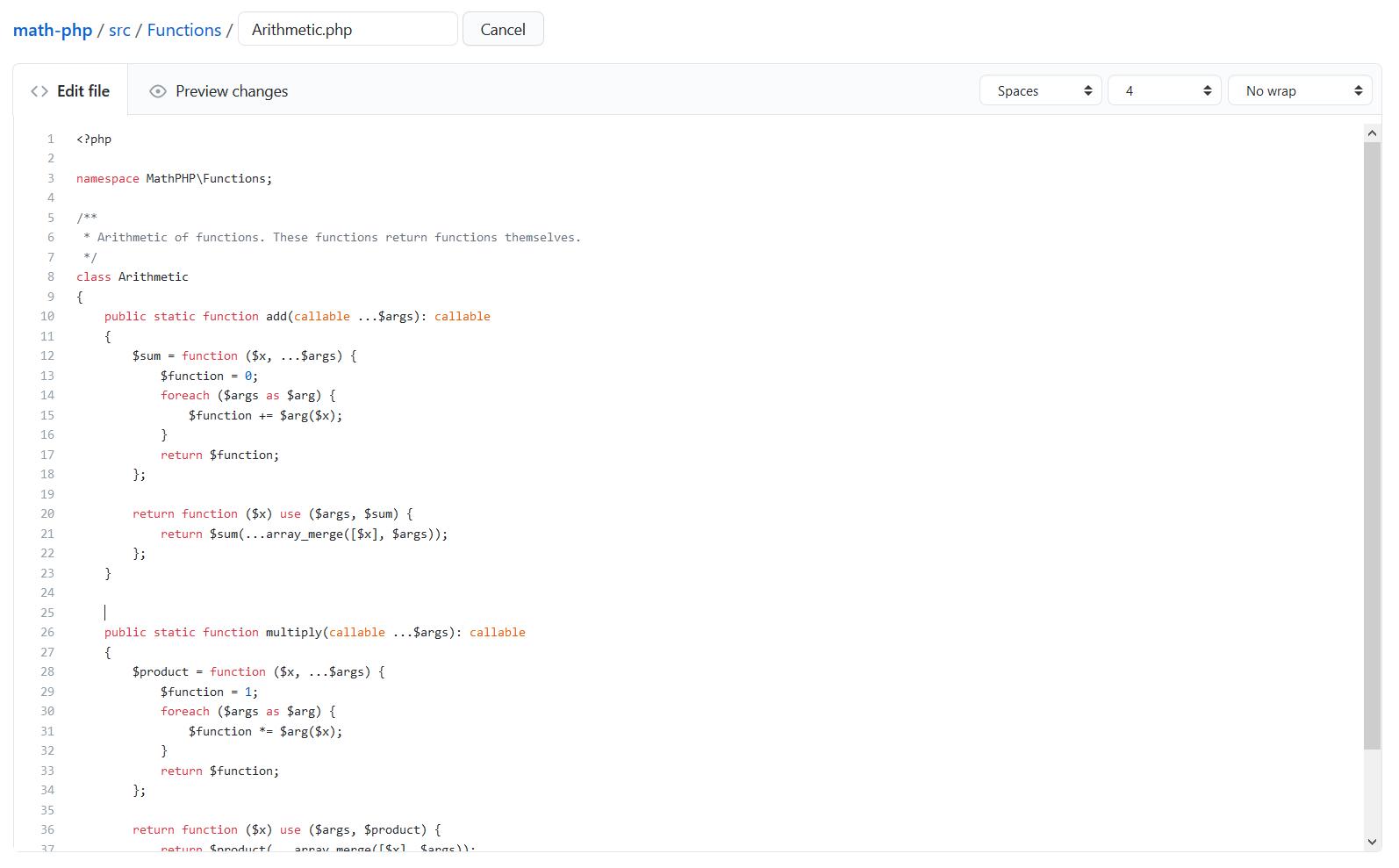Code pur PHP Github