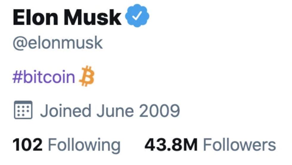 Bio twitter de Elon Musk avec le signe Bitcoin